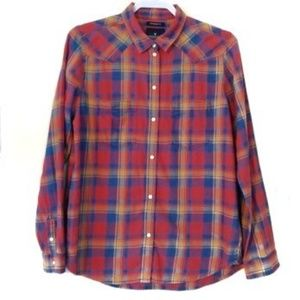 American Eagle Outfitters Plaid Snap Front Shirt